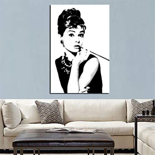Rjjwai Hd Print Schwarz Mit Weiß Audrey Hepburn Porträt Auf Leinwand Wandkunst Bild Pop Art Gemälde Für Wohnzimmer Cuadro Dekoration Hauptdekoration 40x60cm