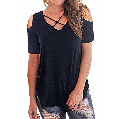 ESAILQ Damen Lose Asymmetrisch Sweatshirt Pullover Bluse Oberteile Oversized Tops T-Shirt(S,Marine) (3/4 Ärmel Baumwolle Polo-shirt)