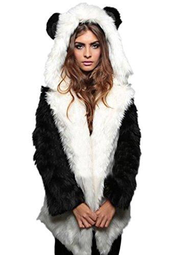 Le Donne Di Finto Pelo Soffice Cappotto Caldo D'inverno Indumenti Crestata Black1