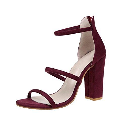 Elecenty Sandalen Damen Schuhe,Schuh Sommerschuhe Shoes Blockabsatz Sandaletten Frauen High Heels Reißverschluss Offene Elegante Peep-Toe Knöchelriemchen Bequeme Elegant Freizeitschuhe (38, Rot) (Wildleder Peep-toe Bootie)