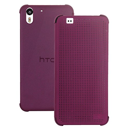 Heartly Dot View Touch Sensative Flip Thin Hard Shell Premium Bumper Back Case Cover For HTC Desire Eye - Metal Burgundy