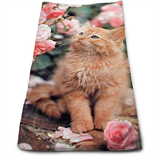 Liumiang Handtuch Exotic Cotton Cute Cat La Perm Roses Plaid Dish Towels,Oversized Kitchen Towels for Drying,Cleaning,Cooking, Baking 30 X 70CM/12 X 27.5 in
