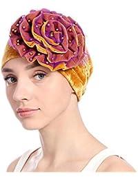 Mujeres Perla Decoración Chemotherapy Pañuelo en la cabeza Turbante Damas Señoras Cap Beanie Cap Headwear Sombreros Maquillaje Sombrero Chemo Hair Bufanda Skullies largos Pañuelos Head Wrap dormido
