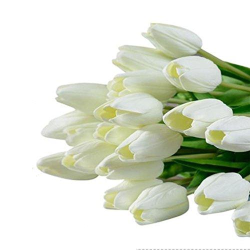 KayMayn 20pcs künstliche Tulpe Blume gefälschte Blumen Bouquet Silk Tulip Real Touch, für Hochzeitsstrauß Dekor oder Home Room oder Geburtstag Gartenparty Blumendekor (White 20pcs)