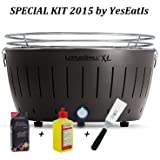 LOTUSGRILL XL Special KIT 2015 by YesEatIs - Lotusgrill XL BARBACOA + 1Kg Carbon Lotusgrill + 1 Gel Lotusgrill + 1 Saptula Grill - NEGRO XL