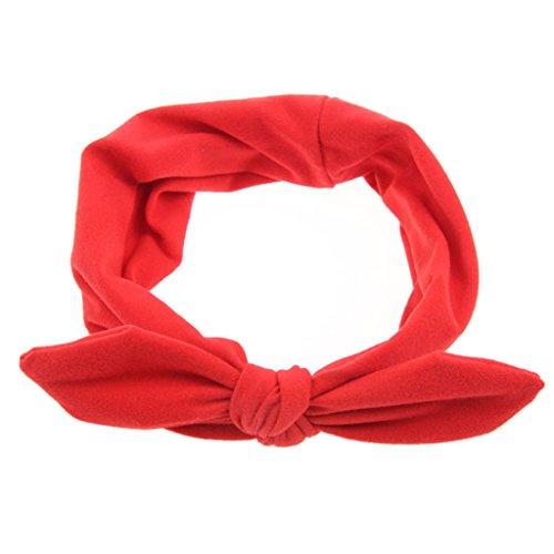 jelinda Bandeau d'oreille de lapin bandeau bandeau cheveux noeud couleur unie Femme Rouge - Rouge