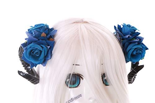 Blau Rosen Schwarz Dämon Widder Hörner Fantasy Fee Teufel Kopfschmuck Clips Gothic Lolita LARP ()