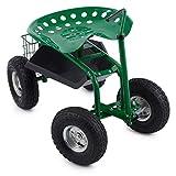 Waldbeck Park Ranger Silla de Jardín Verde (neumáticos grandes, compartimiento práctico, asiento giratorio de altura regulable, capacidad de carga has