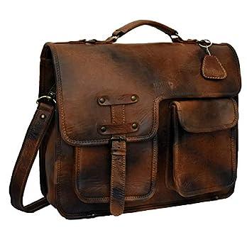 Adwaita 16 inch full grain antique leather laptop messenger bag with rainn cover for men and women (version-2.0)