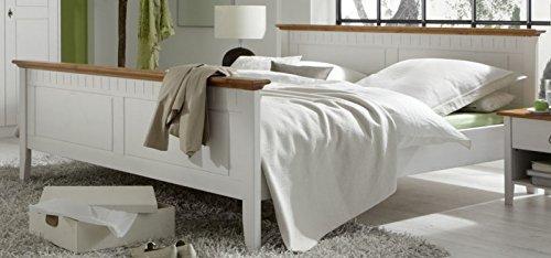 Jadella Bett 'Essen- Bett 180x200' Doppelbett Ehebett 180x200 Kiefer Weiss lackiert Massiv