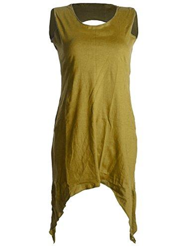Vishes - Alternative Bekleidung – Zipfeliges Elfenkleid aus Baumwolle – mit rundem Rückenausschnitt olive 44