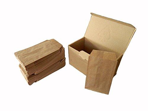 Yearol K04. 250 Sobres bolsas de papel kraft pequeñas sin asas. Especial para regalo, tiendas, comercio, joyería, bisutería, manualidades, etc. 7 cm. x 12 cm. 60 gr/m2.