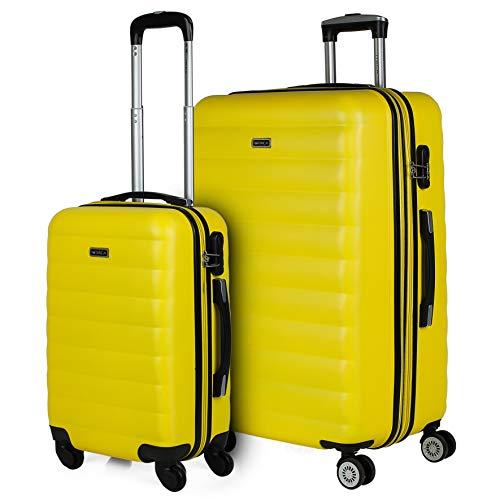 ITACA - Juego de Maletas de Viaje 4 Ruedas Dobles Trolley ABS. 2 Tamaños: Pequeña 55, Grande Extensible 75. Duras Resistentes Rígidas y Ligeras Bonito Diseño. 71217, Color Amarillo