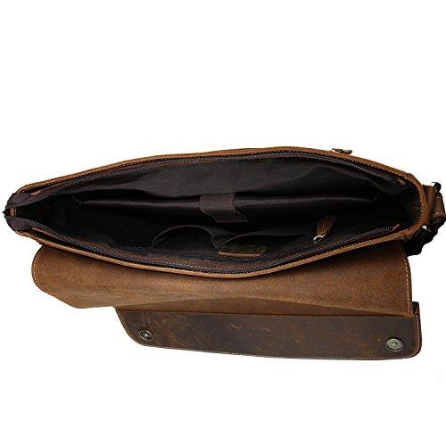 Neuleben Herren Aktentasche aus echtem Leder Vintage Schultertasche Laptoptasche mit Laptopfach für 15,6
