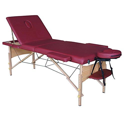 Preisvergleich Produktbild SAILUN® tragbare Massageliege Profi Kosmetikliege,  4cm Feinzell-schaumstoff,  Vollholzgestell,  3 Zonen,  192 * 70 cm,  Weinrot