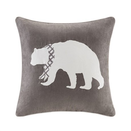 Madison Park Bear Embroidered Suede Square Pillow Grey 20x20 by Madison Park -