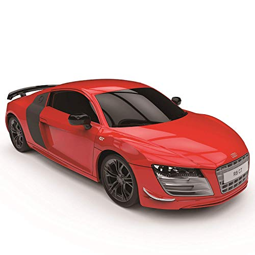CMJ RC Cars Audi R8 GT, Licencia Oficial Mando Coche para Niños con Trabajo, Luces Coche Radio Control Niños Niña Juguetes 1:24 Modelo, 2,4ghz Race 10 + Coches Juntos (Rojo)