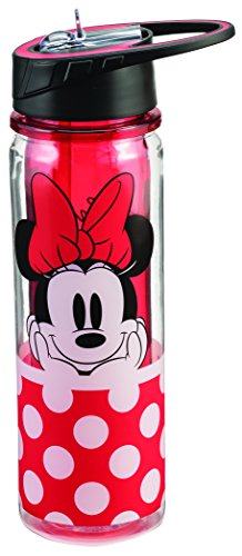 Vandor 89075 Disney Minnie Mouse Tritan Water Bottle, 18 oz, Red by Vandor