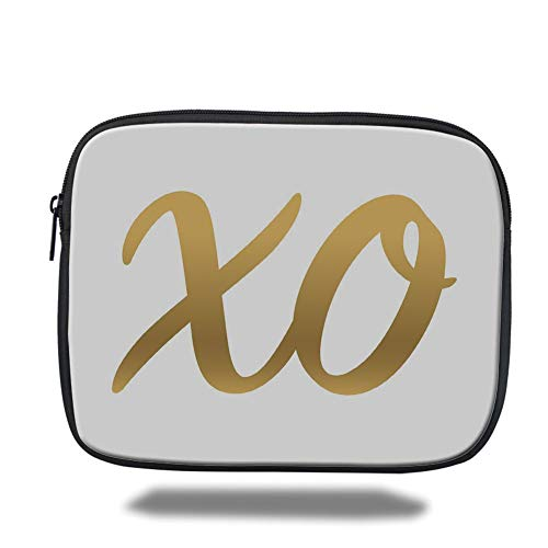 Tablet Bag for Ipad air 2/3/4/mini 9.7 inch,Xo,Hugs and Kisses Valentine Days Inspired Background Vintage Style Celebration Image Decorative,Gold and White (Xo Kids Tablet)