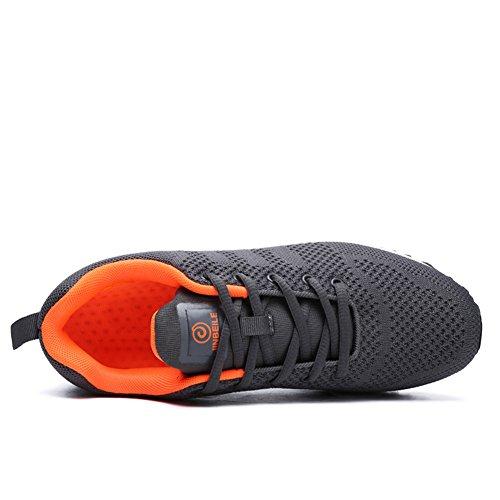 HooH Uomo Scarpe da Corsa Confortevole Traspirante Leggero Sportivo Jogging Atletico Scarpe da Ginnastica Grigio