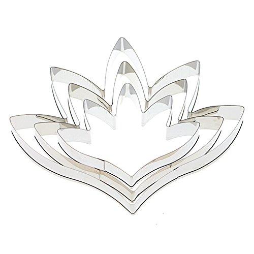 tianxiangjjeu 3 Stück Fudge Kuchen-Form Edelstahl Nacht-Lavendel Blütenblatt Ausstecher Dekoration Werkzeug multi