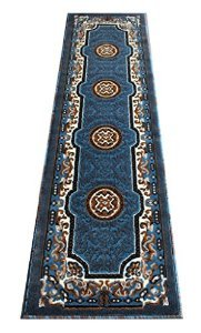 Traditionelle Bereich Teppich schwarz Design D123 (5ft2in. x7ft. 2,5 cm.), Synthetisch, blau, (2 Feet X 7 Feet) Runner -