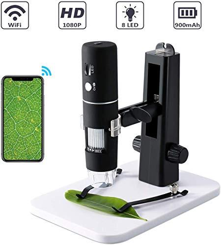 Microscopio USB HD, Microscopio USB WiFi Fotocamera 1000X Zoom 1080P HD con Supporto Professionale, Mini Microscopio Tascabile con 8 LED per iPhone iOS Telefono Android iPad Windows, Mac,Nero
