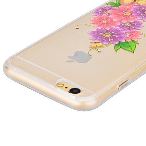 GrandEver iPhone 6S Hülle, iPhone 6 Weiche Silikon Bumper und Hardcase Strass Diamant Hart Backcover Transparent Glitzer Handyhülle mit Blumen Muster Schlank HandyTasche Flexible Bling Schutzhülle Zur Lila Rose Blumen
