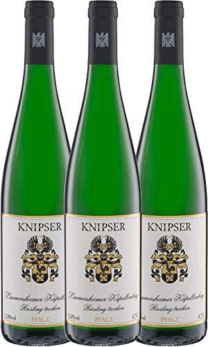 3er Paket - Laumersheimer Kapellenberg Riesling 2018 - Knipser   trockener Weißwein   deutscher Wein aus der Pfalz   3 x 0,75 Liter