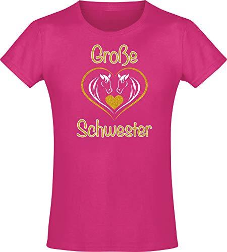 Kinder Shirt: Große Schwester - T-Shirt für Mädchen - Geschenk - Geburtstag - Geschwister - Sister - Pony - Pferd - Set - Herz - Familie - Glitzer - Gold - Rosa - Pink - Niedlich (104) - Rosa Liebe Herz T-shirt