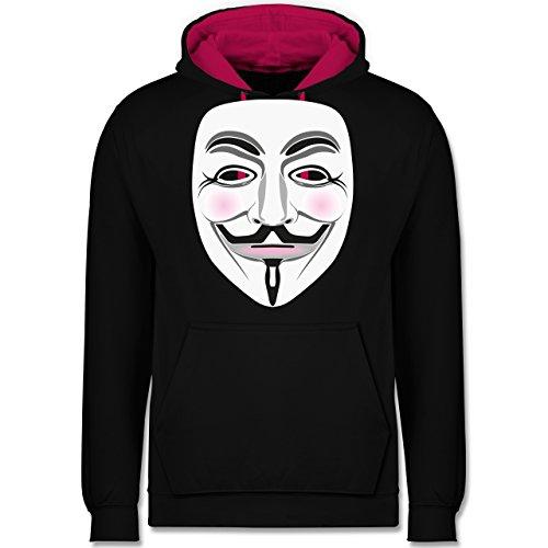 Nerds & Geeks - Anonymous Maske Hacker - Kontrast Hoodie Schwarz/Fuchsia