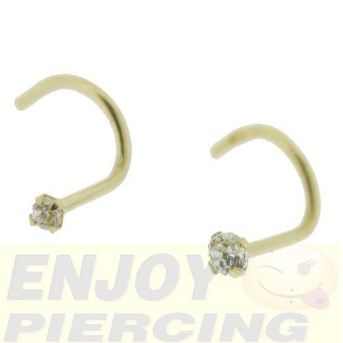 Piercing Nez Or Massif 9 Carats Cristal Blanc Griffé