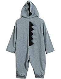 PAOLIAN 3-18 Meses Newborn Baby Boy Solid Color Dinosaur Hooded Romper Jumpsuit Outfits Clothes