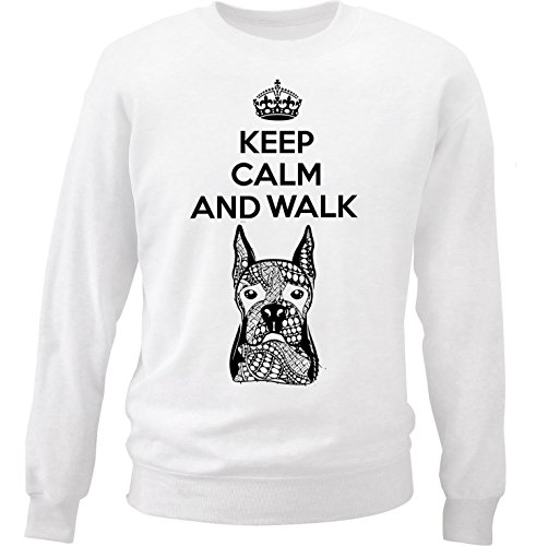 teesquare1st Men's Boxer - Keep Calm And Walk White Sweatshirt Size Large
