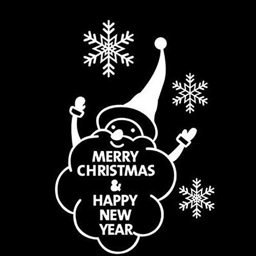 YuanMinglu Frohe Weihnachten Zitat Wandaufkleber Dekoration Schneeflocke Fenster Frohes Neues Jahr Shop Aufkleber Weiß 42cmx29cm