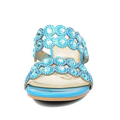 LittleDevil Damen-Sandalen-Lässig Kleid-PU Kunststoff-Niedriger Absatz-Fersenriemen- Blau