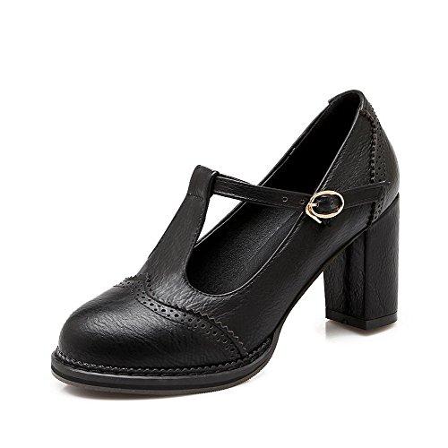 AgooLar Femme à Talon Correct Couleur Unie Boucle Matière Souple Rond Chaussures Légeres Noir