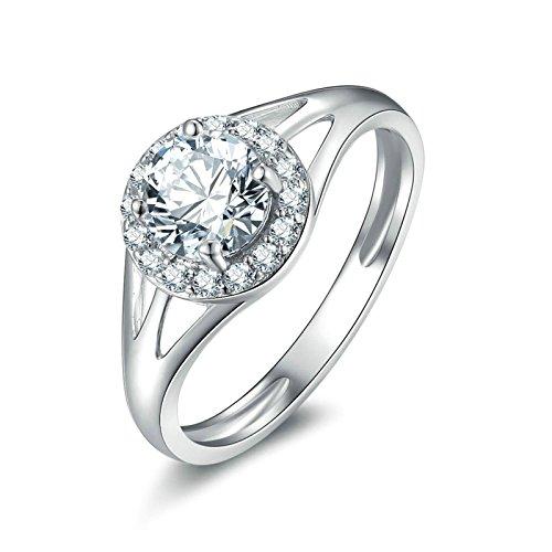Anazoz fedi nuziali argento bianco cubic zirconia incisione gratuita fedine di fidanzamento misura 23,5