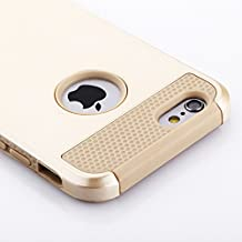 Funda iPhone 6S y Funda iPhone 6(4.7 pulgadas),de plástico duro y de silicona Funda proctetora,de goma con dos cubiertas de oro para defensa militar Protector(oro)