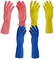 Primeway® Medium Natural Rubber Flock Lined Hand Gloves Set, Pack of 3 Pairs (Multicolor)
