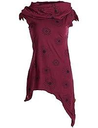 Vishes Alternative Bekleidung – Bedruckte Tunika Aus Baumwolle mit Kragenkapuze