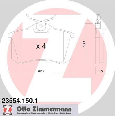 ZIMMERMANN 23554.150.1Serie Bremsbelagsatz, Hinten, inklusive Platte dämpfend