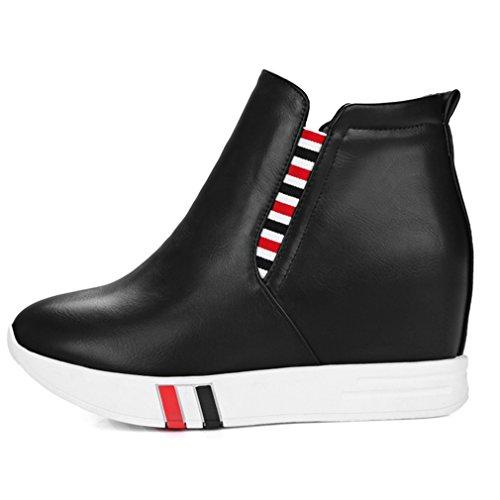 ENMAYER Femmes PU Matériel Casual Round Toe Plate-forme Wedge Heel Hauteur Augmenter Slip sur les Chaussures Noir
