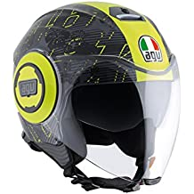 AGV Casco Moto Fluid E2205 Top, Ibiscus Gunmetal/Yellow, ...