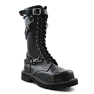 ANGRY ITCH - 14-Loch 3 Riemen Gothic Punk Army Ranger Armee Leder Schwarz Stiefel mit RV & Stahlkappe - Größen 36-48 - Made in EU!, EU-Größe:EU-40