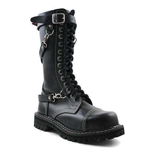 Angry Itch - 14-Agujeros Botas goticas Punk de Cuero Nero con Ziper - Numéros 36-48 - Hecho in EU!, EU-Größe:EU-38