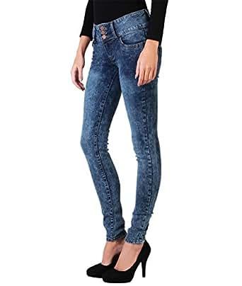 4203-BLU-16: Acid Wash 3 Button Skinny Jeans