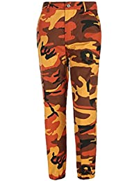 NiSeng Mujeres Estampado De Camuflaje Jeans Vaqueros Pantalones Casual Multi-Bolsillo Pantalones