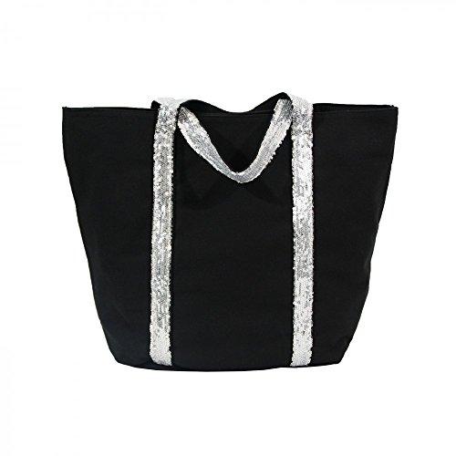 Shopping-et-Mode - Sac à main cabas noir en tissu avec lanières à paillettes - Noir, Tissu