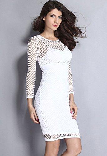 Pinkyee Damen Kleid Weiß
